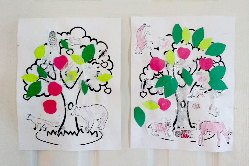 Cute apple tree and forest animal toddler coloring craft - Mommy Scene