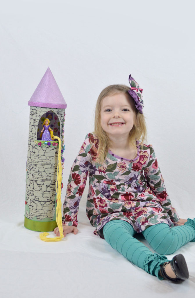 Easy homemade Rapunzel Princess Tower from recycled food containers - Mommy Scene