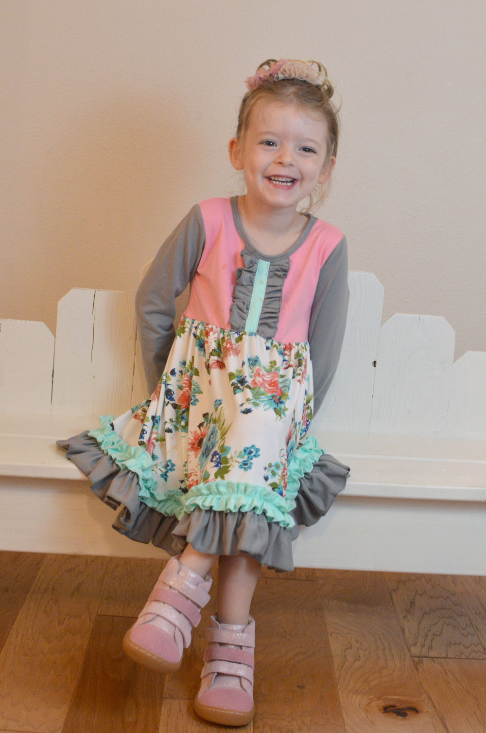 Livie and Luca Girls Sparkle high top shoes and Screaming Owl dress - Mommy Scene review