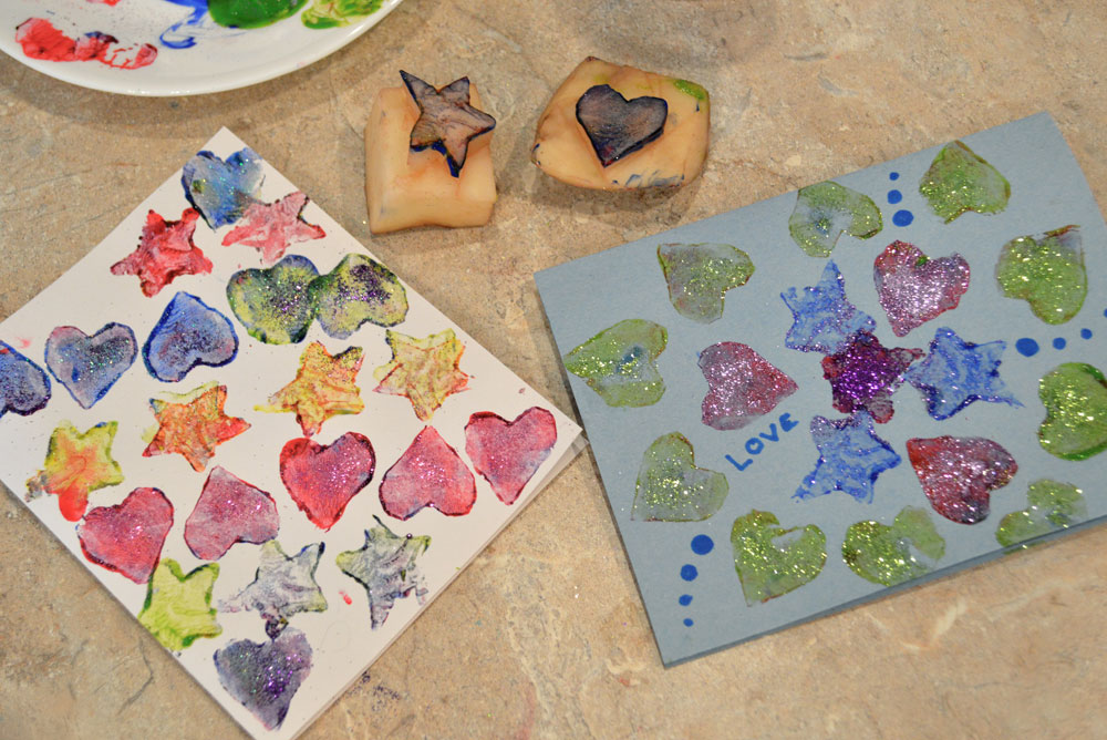Fun and colorful potato stamp art - Mommy Scene