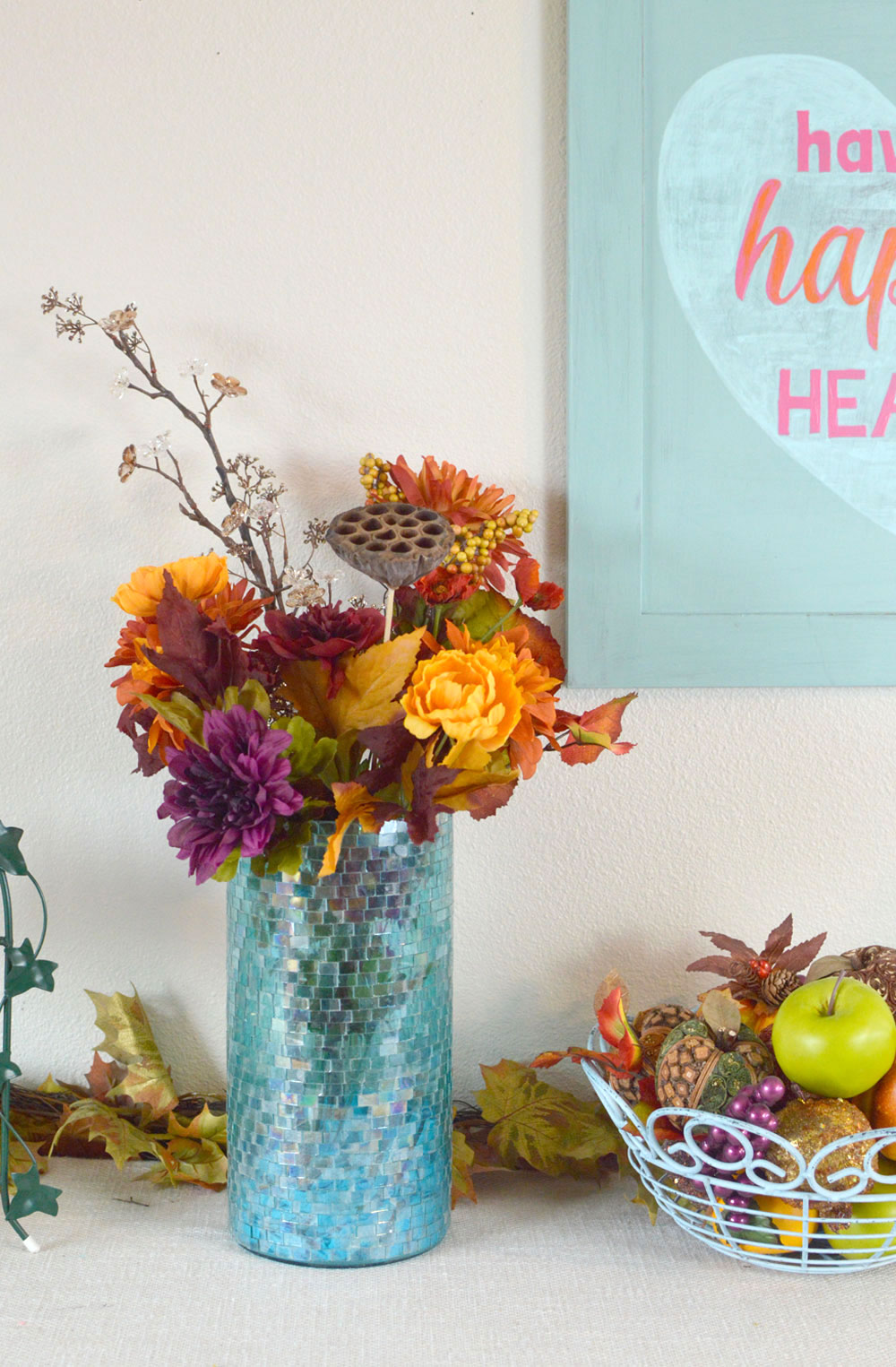Simply Beautiful Fall Decorations and Fruit Basket - Mommy Scene