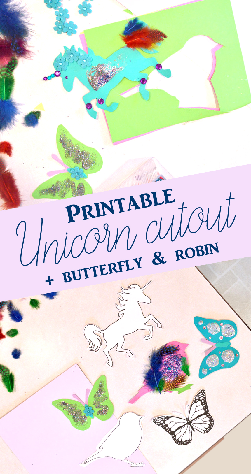 Printable unicorn, butterfly and robin cutout template kids craft