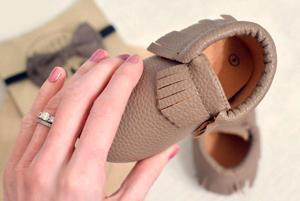 Affordable leather baby moccasins from Sweet N Swag