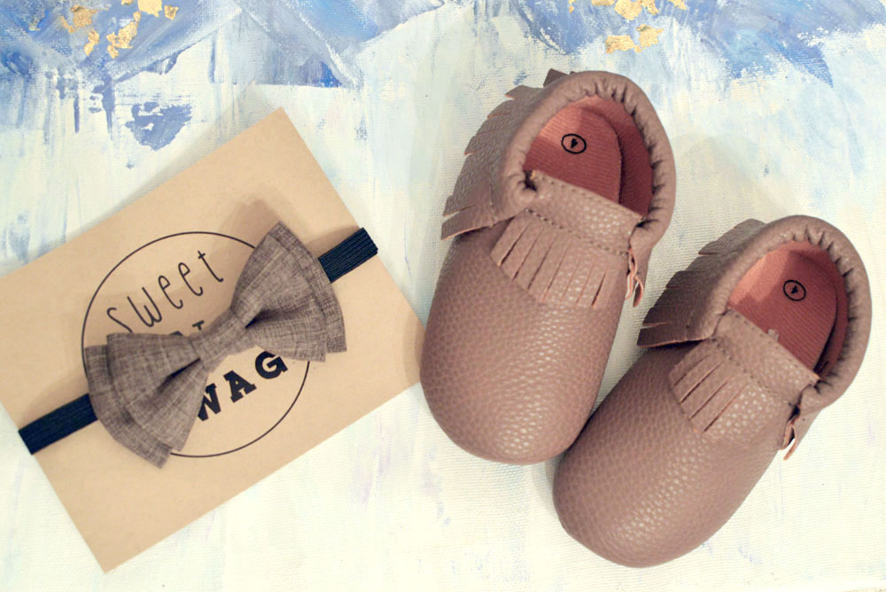 Sweet N Swag review baby bow tie and moccasins